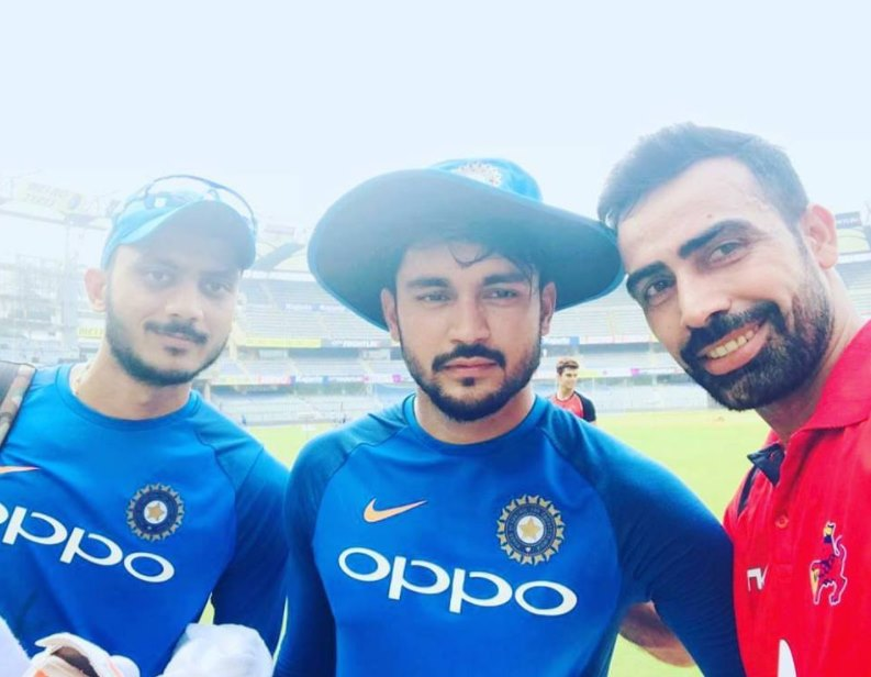 Sahu with colleagues Manish Pandey and Axar Patel