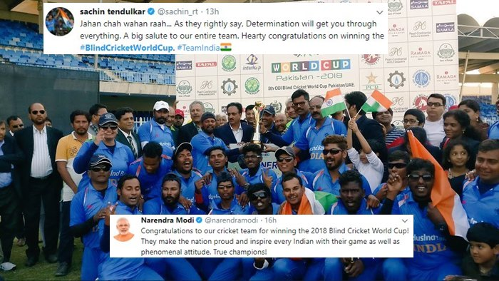 PM Modi to Sachin Tendulkar: Congratulations pour in as India beat Pakistan in Blind Cricket World Cup finals