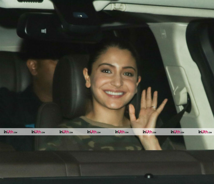 Anushka Sharma greeting the paparazzi on the sets of Zero