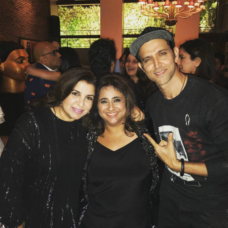 Hrithik Roshan and Farah Khan with Kaajal Anand at her birthday party in Mannat
