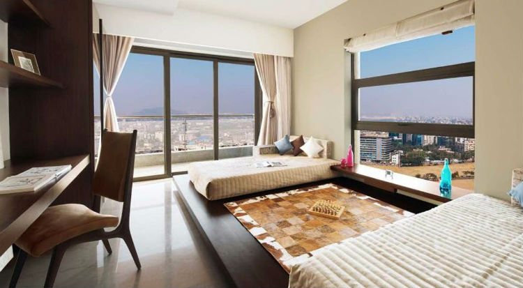 The living room of Abhishek Bachchan and Aishwarya Rai's new apartment