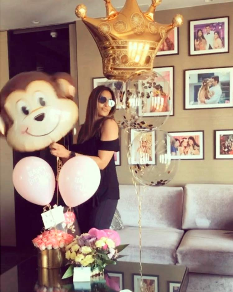 Bipasha Basu with her monkey princess balloon on her birthday