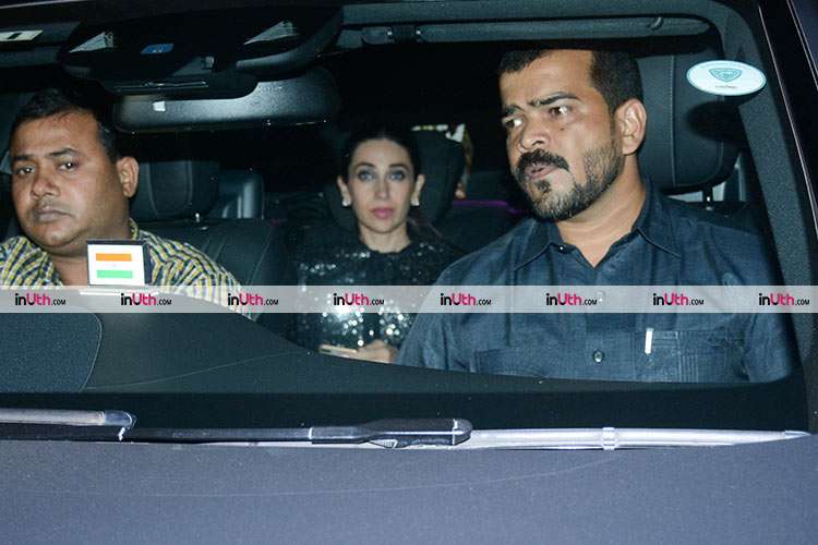 Karisma Kapoor arriving at Kaajal Anand's birthday party