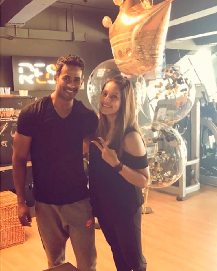 Bipasha Basu's birthday celebrations at her gym on Sunday