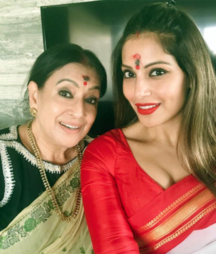 Bipasha Basu with her mother post-pujo