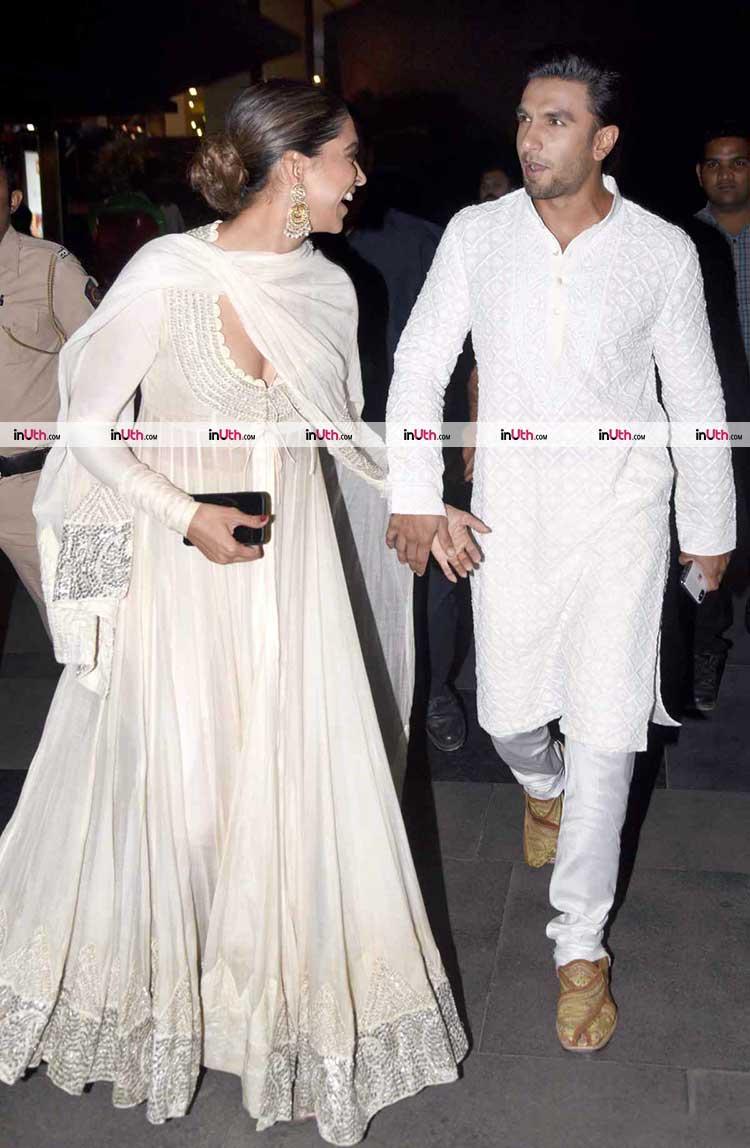 Deepika Padukone and Ranveer Singh sharing a light moment at Padmaavat screening