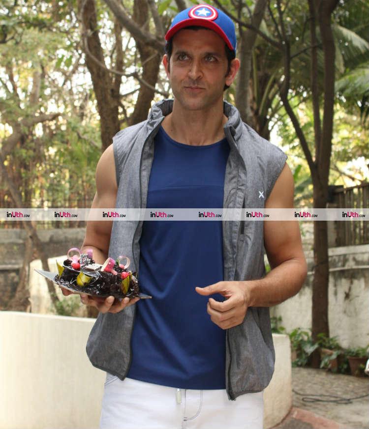 Hrithik Roshan with a birthday cake