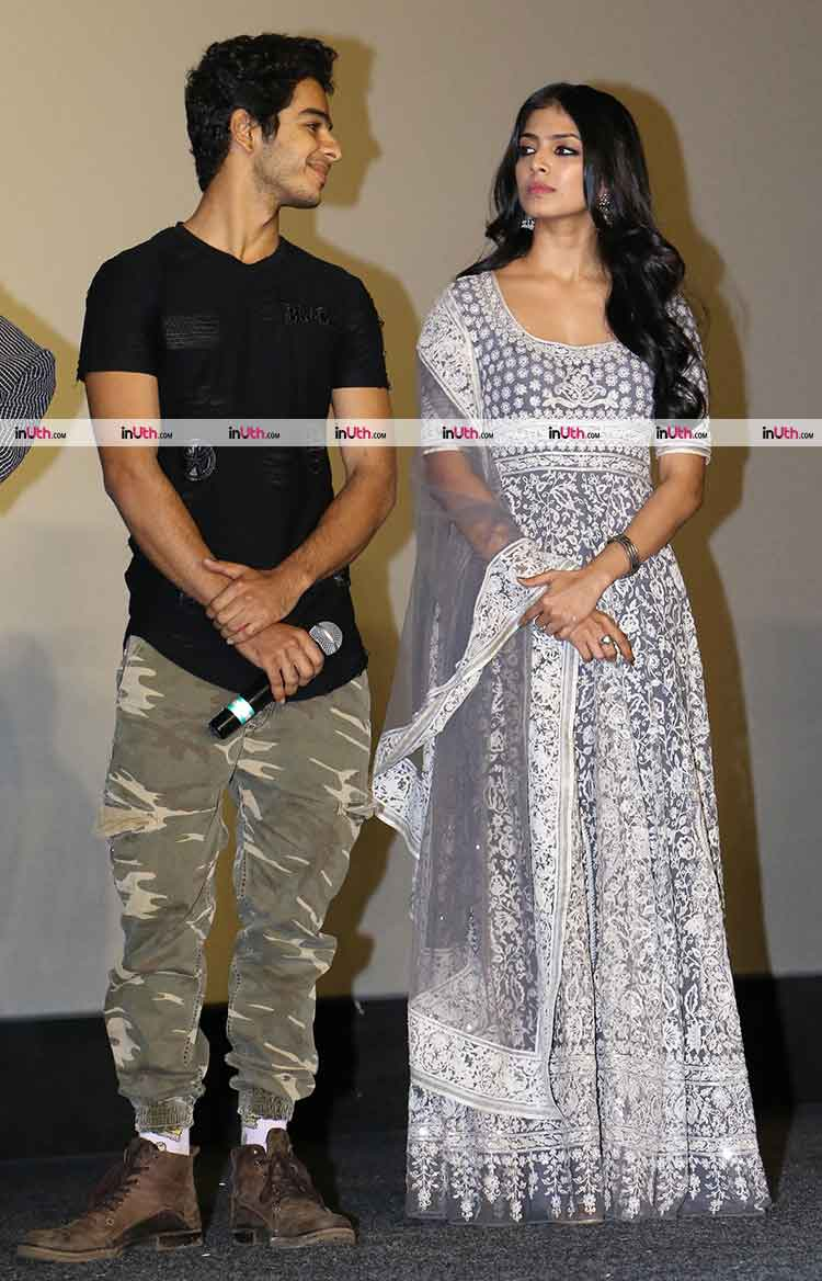 Ishaan Khatter and Malavika Mohanan captured in a candid moment at trailer launch