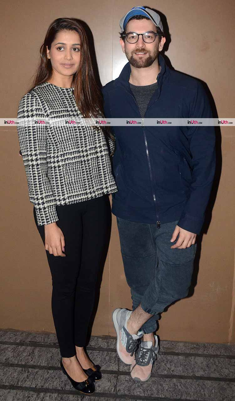 Neil Nitin Mukesh with wife at screening of Padmaavat