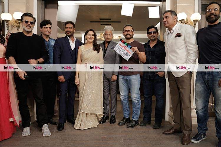 Team Total Dhamaal on the first day of the shoot