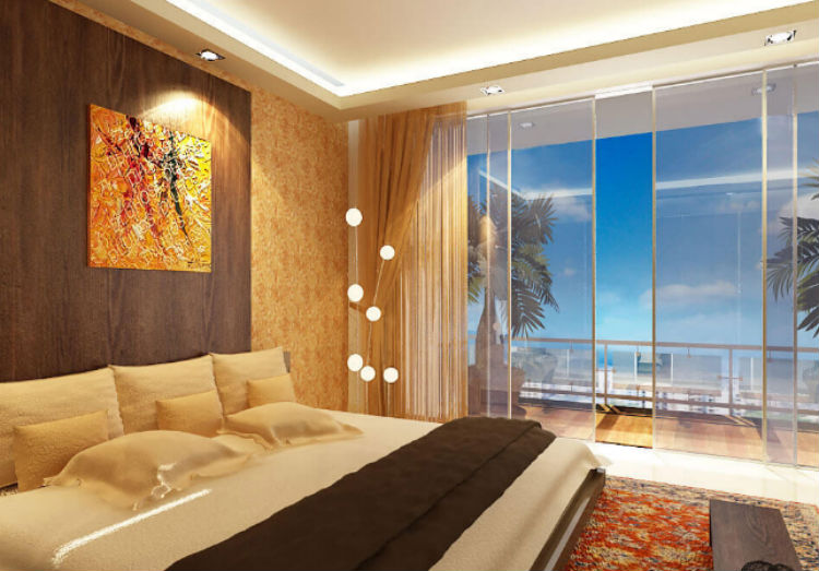 The master bedroom of Abhishek Bachchan and Aishwarya Rai's new apartment