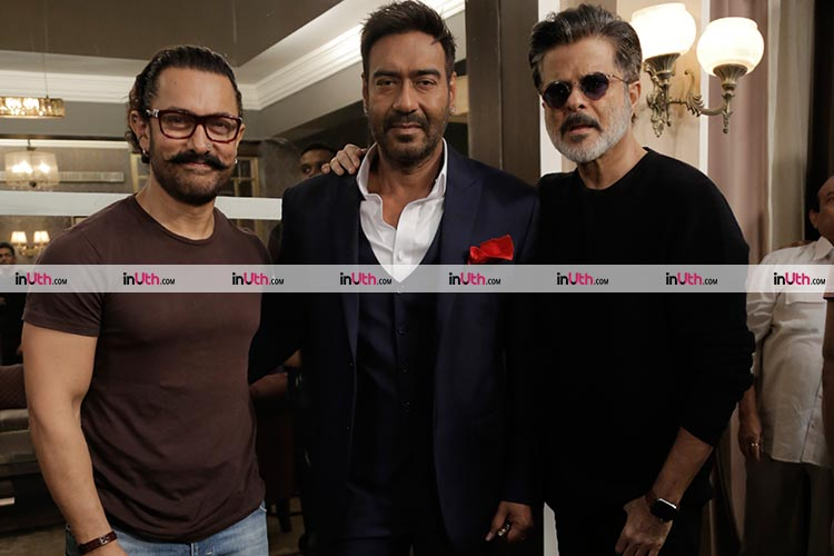 Anil Kapoor, Ajay Devgn, Aamir Khan on the sets of Total Dhamaal