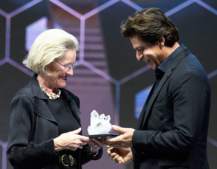 Shah Rukh Khan accepting the Crystal Award at World Economic Forum 2018