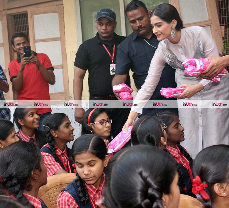 Sonam Kapoor in a school in Mumbai for promoting PadMan