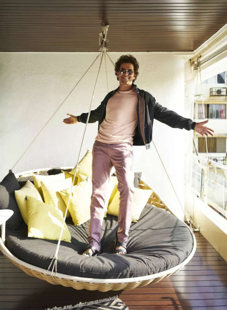 Hrithik Roshan on his hammock in the apartment