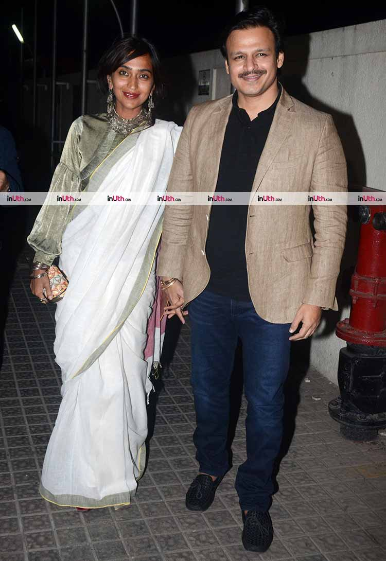 Vivek Oberoi with wife at the screening of Padmaavat