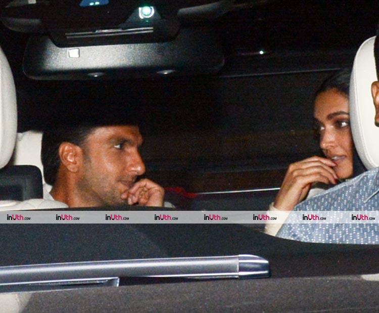 Ranveer Singh and Deepika Padukone arriving at Padmaavat special screening