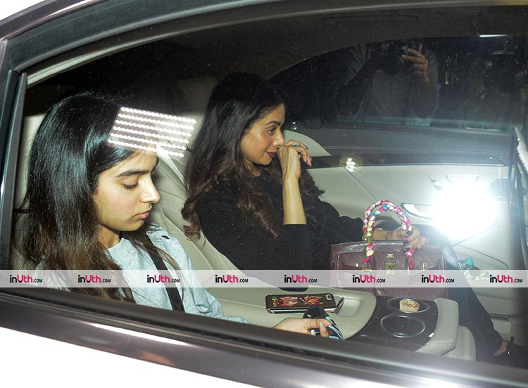 Sridevi and Khushi Kapoor at PadMan special screening on February 8