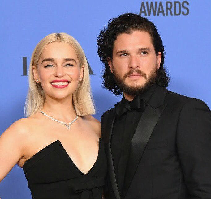 Emilia Clarke and Kit Harrington at Golden Globes 2018