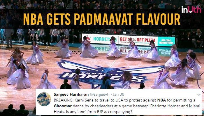 cheerleaders dance to ghoomar song from padmaavat during nba match