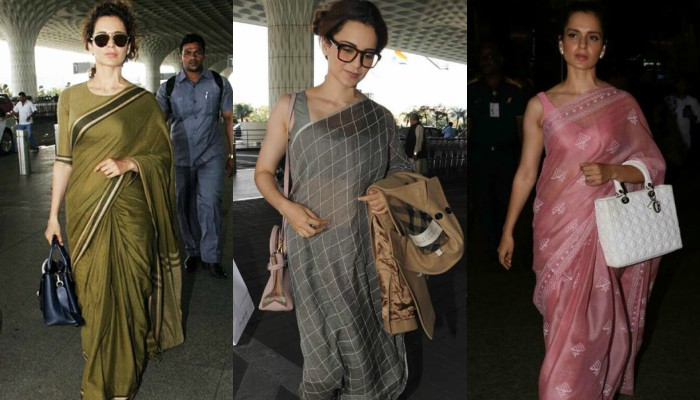 5 times Kangana Ranaut made saree a staple airport wear
