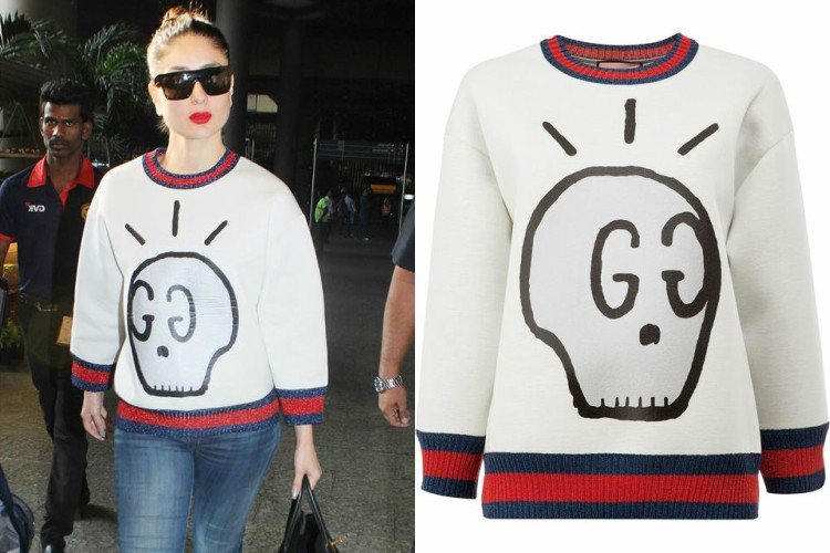 Kareena Kapoor in a Gucci Ghost sweatshirt