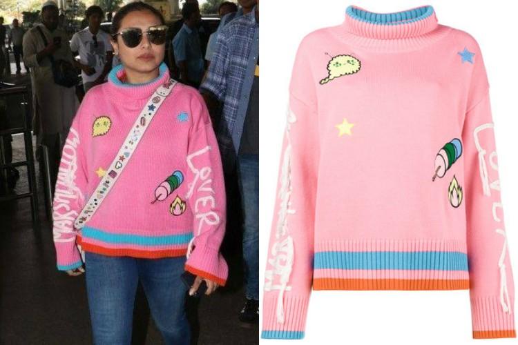 Rani Mukherji in a Mira Mikati sweatshirt