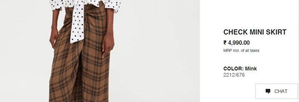 Zara check skirt