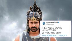 'If Bahubali wears helmet then why do you shy': Hyd Police's Twitter account is pretty lit