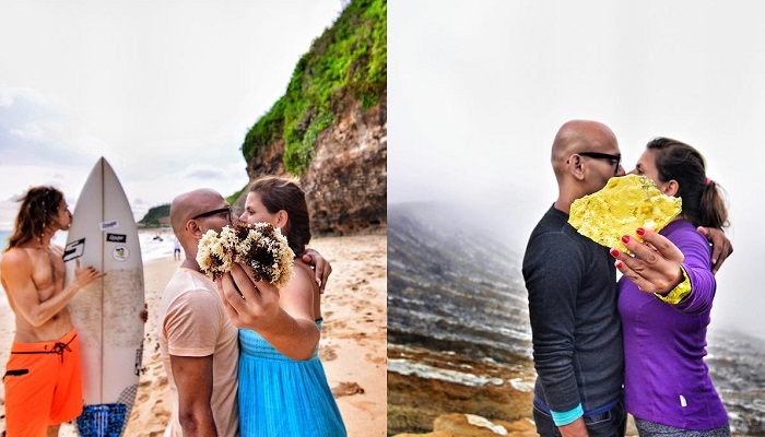 Couple spreads their message of love around the globe, one kiss at a time