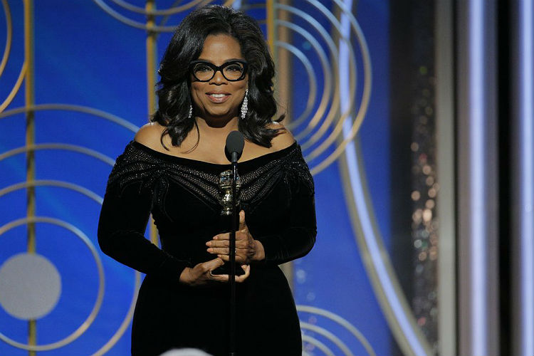 Oprah Winfrey at Golden Globes 2018 (Courtesy: Twitter/@RickeySmiley)