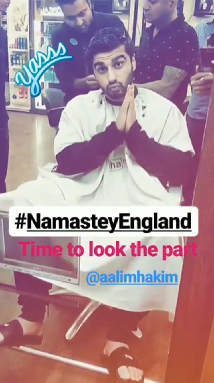 Arjun Kapoor getting into his look for Namastey England