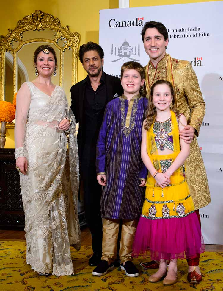 Shah Rukh Khan with Canadian Prime Minister Justin Trudeau and his family