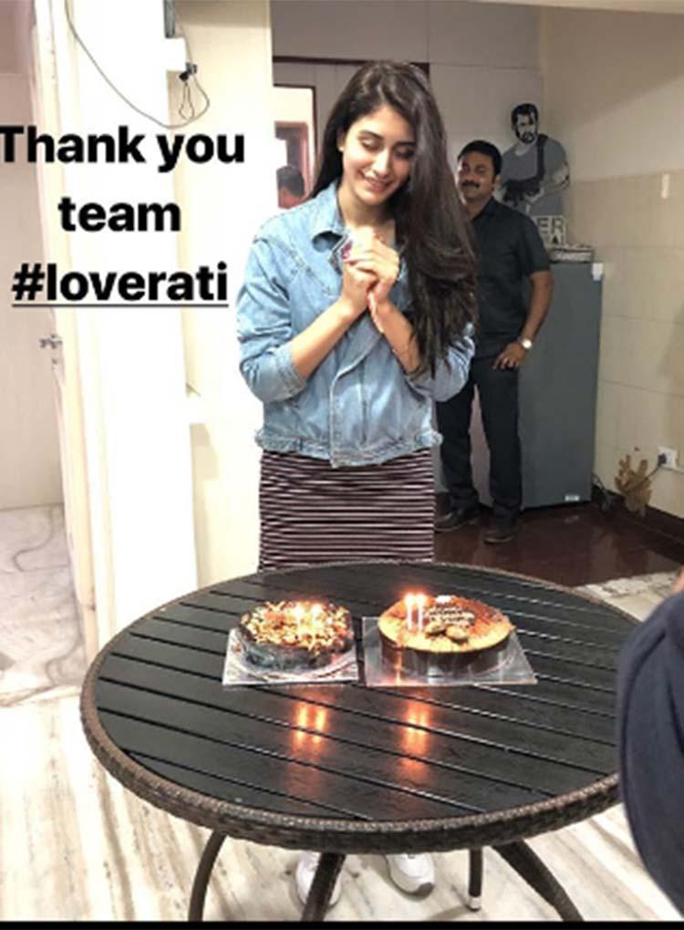 Warina Hussain receives a birthday surprise on Loveratri sets