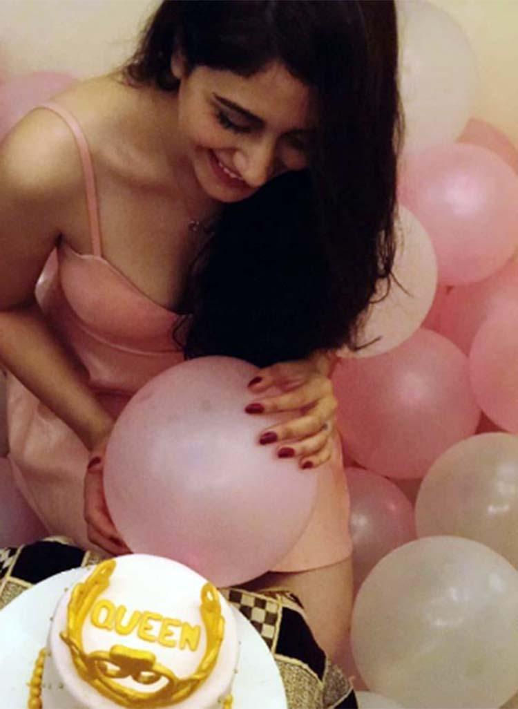 Warina Hussain with her birthday cake