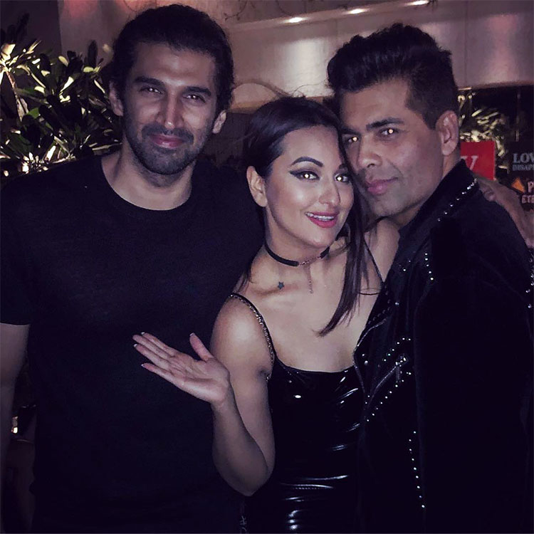 Sonakshi Sinha with Aditya Roy Kapur and Karan Johar