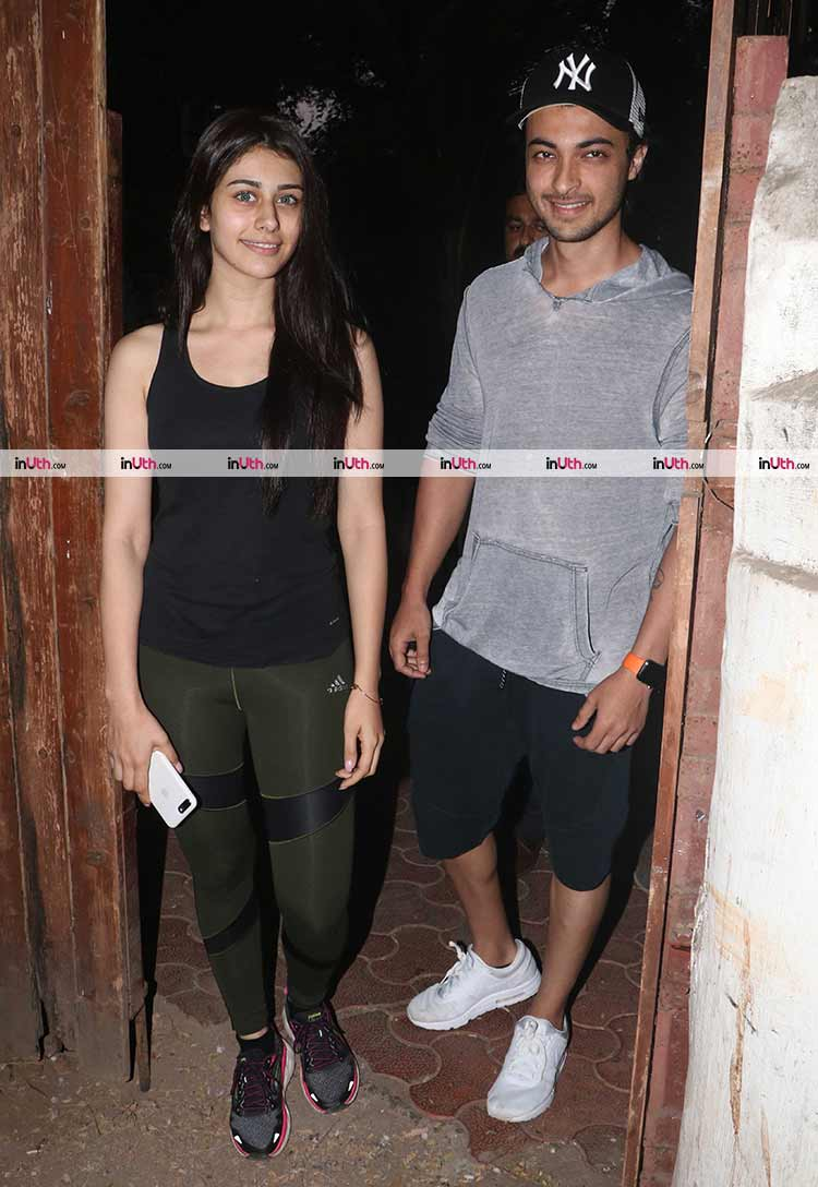 Aayush Sharma and Loveratri co-actress Warina Hussain in Mumbai
