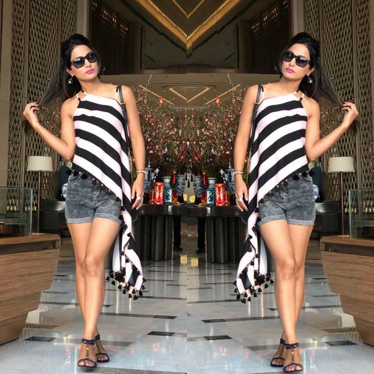 Hina Khan slaying in Sri Lanka
