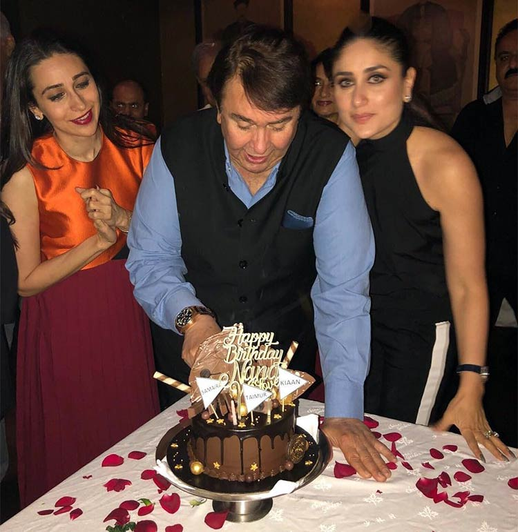 Randhir Kapoor with daughters Karisma and Kareena at his birthday party