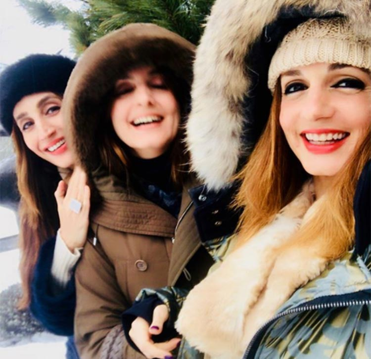 Sussanne Khan with her sister in Switzerland