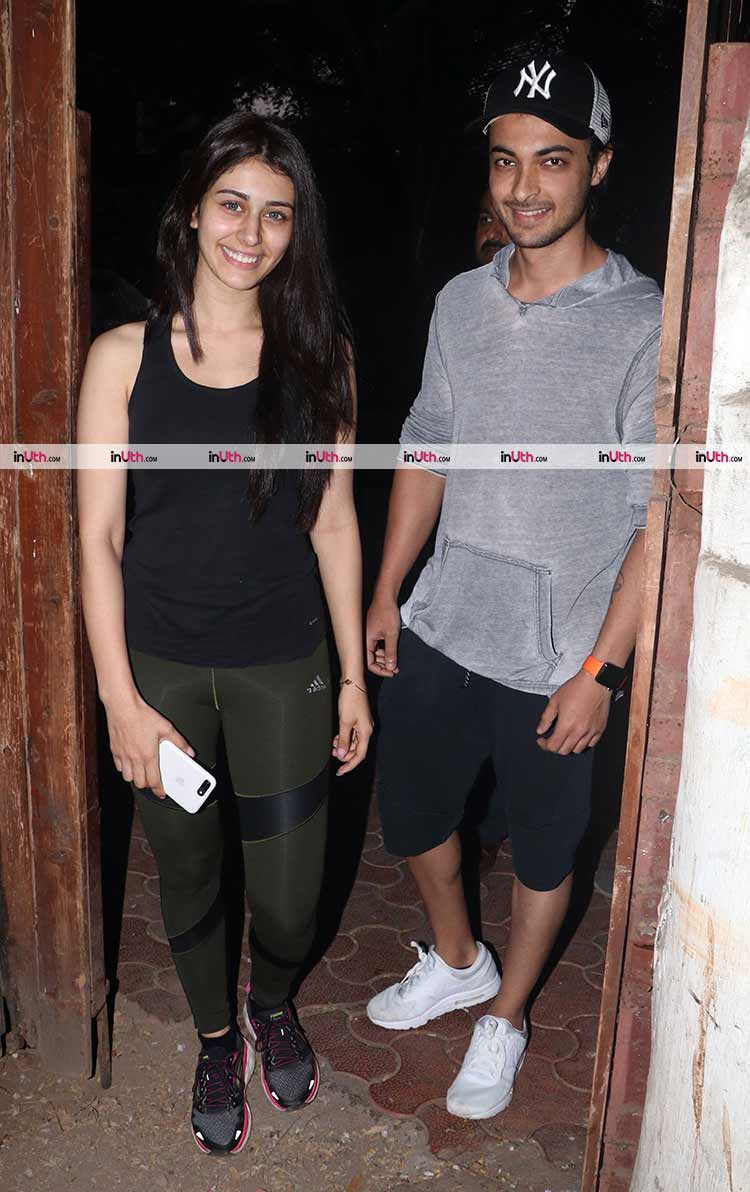 Warina Hussain and Aayush Sharma pose for the cameras