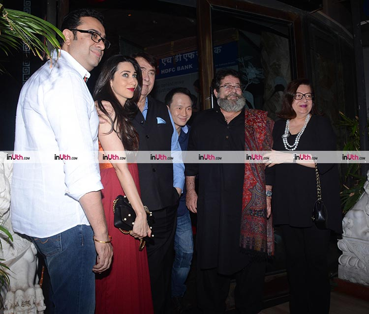 The Kapoor family pose for the cameras after Randhir Kapoor's birthday bash