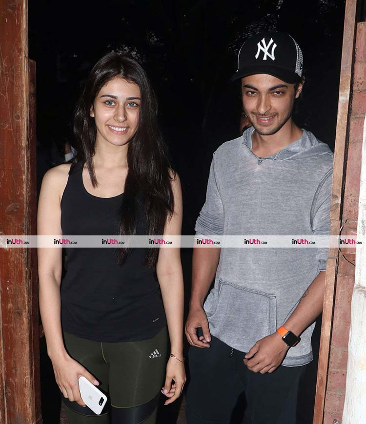 Warina Hussain and Aayush Sharma catch up before Loveratri shoot begins