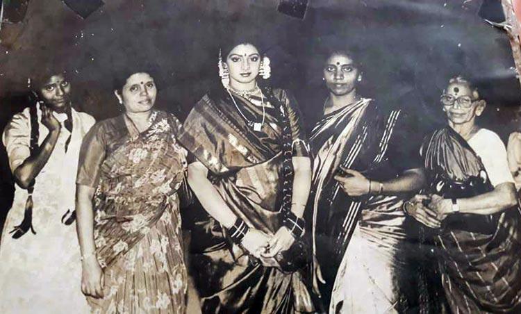 Sridevi on the sets of Ghar Sansar