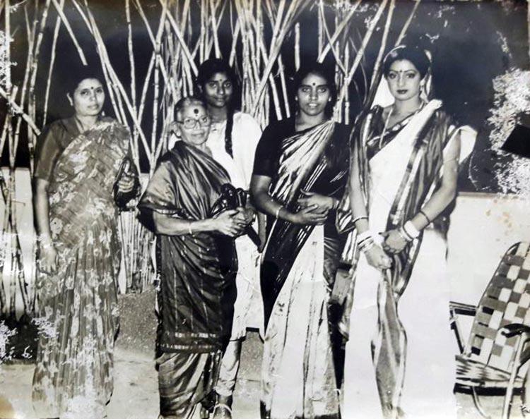 Sridevi snapped on a movie set