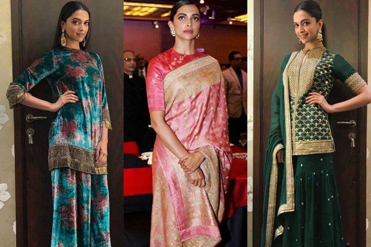 Deepika Padukone in Sabyasachi outfits