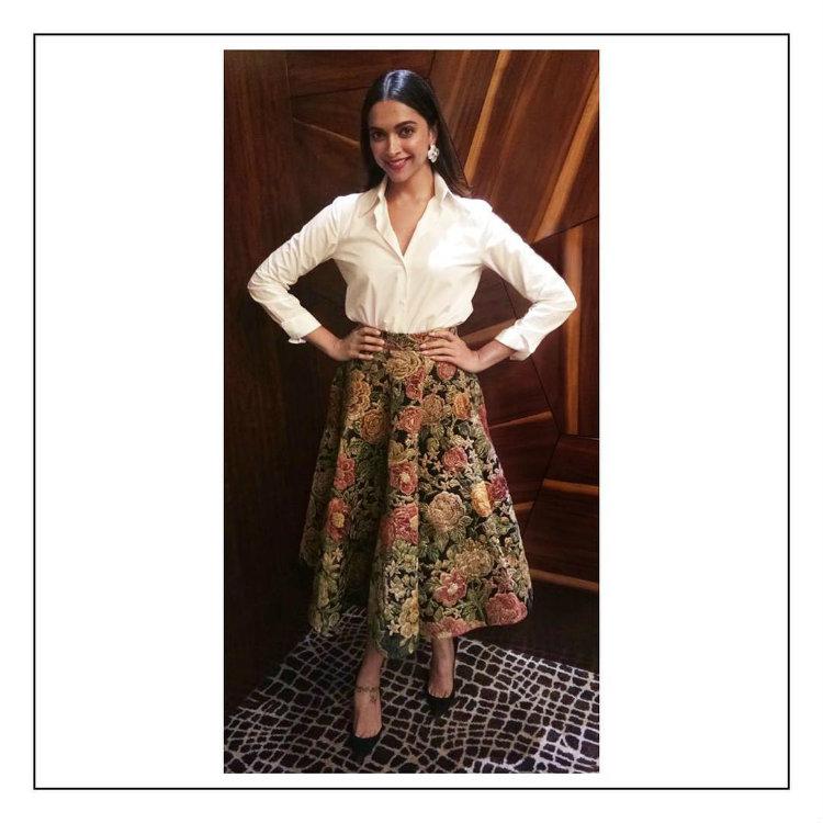 Deepika Padukone in a Sabyasachi skirt