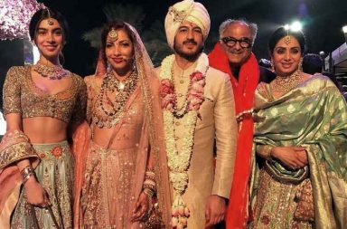 Sridevi, Rhea, Arjun and Khushi Kapoor at Mohit Marwah's wedding