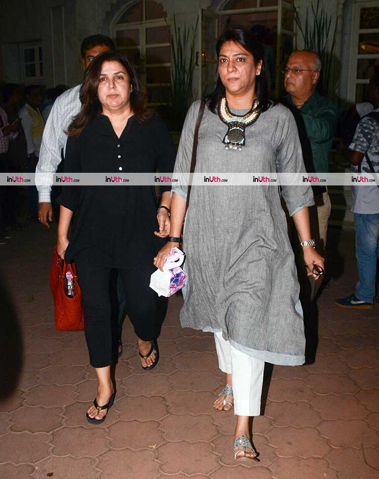 Farah Khan and Priya Dutt at veteran actress Shammi's prayer meet
