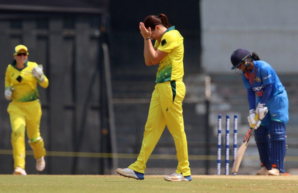 Megan Schutt picks up Mithali's wicket (PIC BCCI)